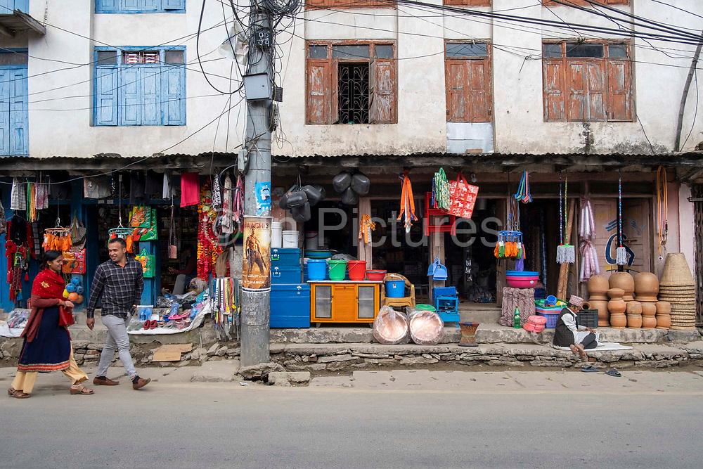 A hardware shop along the main street through the centre of Besishahar on the 10th of March 2020, Besishahar, Lamjung District, Gandaki Pradesh, Nepal. Besishahar is a small town, municipality and the district headquarters of Lamjung District in Gandaki Pradesh, Nepal.