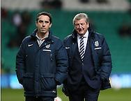 England's Gary Neville and Roy Hodgson look on <br /> <br /> - International Friendly - Scotland vs England- Celtic Park - Glasgow - Scotland - 18th November 2014  - Picture David Klein/Sportimage