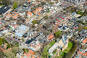 Nederland, Noord-Holland, gemeente Bergen, 20-04-2015; <br /> Parochiekerk Bergen (onder in beeld) en de bekende  Ruinekerk in het centrum van Bergen. Kunstenaarsdorp.<br /> Village famous for its painters, North Holland.<br /> luchtfoto (toeslag op standard tarieven);<br /> aerial photo (additional fee required);<br /> copyright foto/photo Siebe Swart