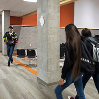 """Students rush to class through the Life Center """"LC"""" at Rehoboth Christian High School in Rehoboth, New Mexico."""
