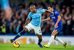 December 8, 2018 - London, Greater London, England - Fernandinho of Manchester City and Pedro of Chelsea during the Premier League match between Chelsea and Manchester City at Stamford Bridge, London, England on 8 December 2018. (Credit Image: © AFP7 via ZUMA Wire)