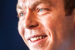 Six-time Olympic gold medallist Sir Chris Hoy, as he announces his retirement at a press conference at Murrayfield stadium..© Michael Schofield.