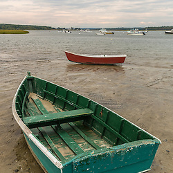 Skiffs at low tide at Pine Point in Scarborough, Maine.