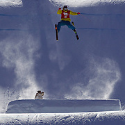 Takumi Toyama, Japan, in action in the Slopestyle Finals during The North Face Freeski Open at Snow Park, Wanaka, New Zealand, 2nd September 2011. Photo Tim Clayton...