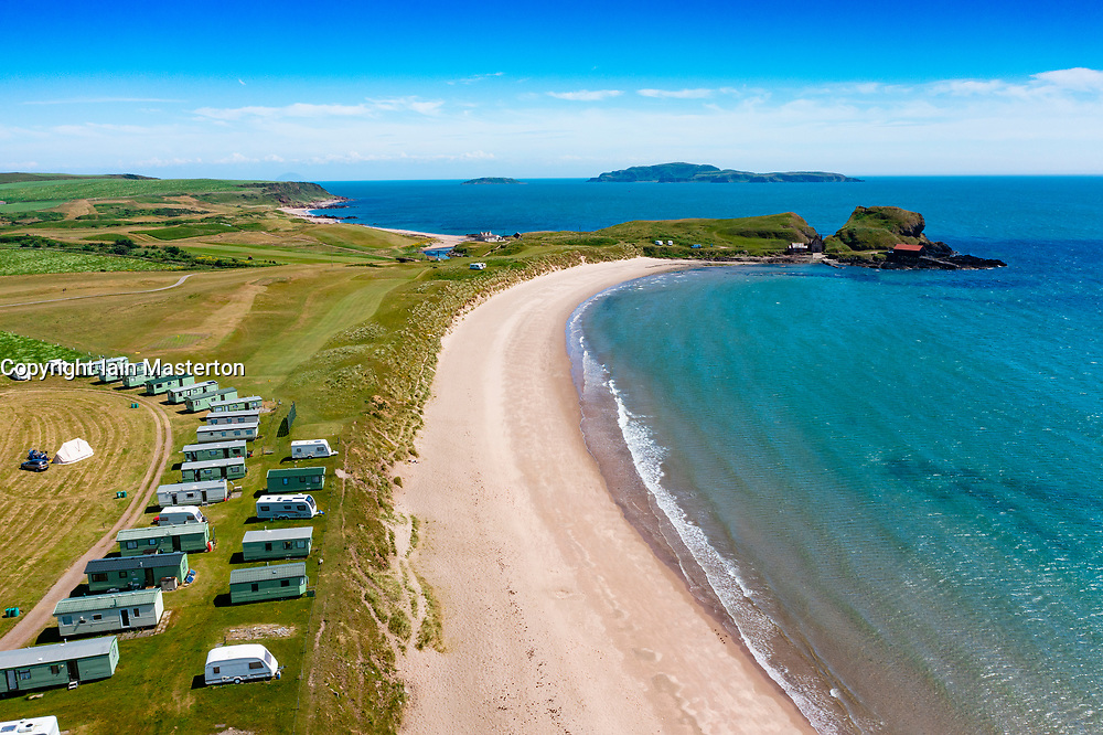 Aerial view from drone of Dunaverty Bay Beach on Kintyre peninsula, Southend, Argyll and Bute, Scotland, Uk