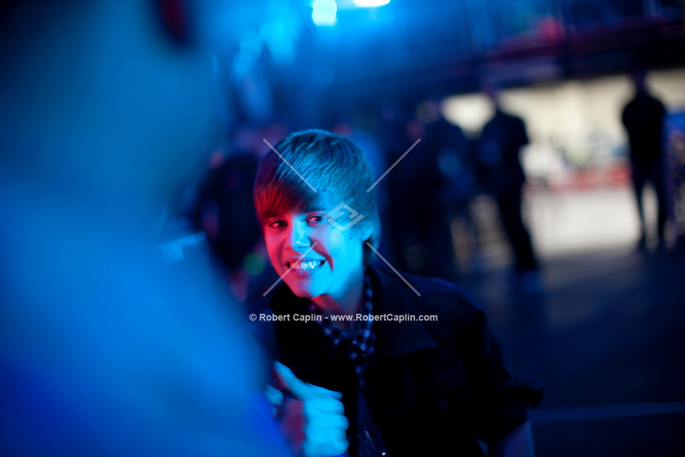 Justin Bieber backstage at the 2009 Z100's Jingle Ball at Madison Square Garden in New York. ..(Photo by Robert Caplin)..