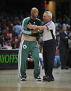 Boston's Ray Allen tries to make a point with NBA referee Jim Clark..The Cleveland Cavaliers defeated the Boston Celtics 108-84 in Game 3 of the Eastern Conference Semi-Finals at Quicken Loans Arena in Cleveland.