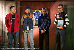 Bryan Thompson presents his award at the 26th Annual Yokohama Hot Rod and Custom Show 2017. Yokohama, Japan. Sunday December 3, 2017. Photography ©2017 Michael Lichter.