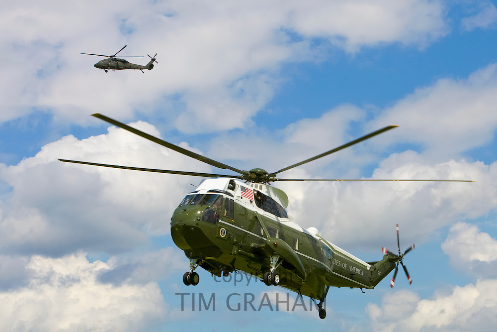 Presidential helicopter, United States of America, carries George W Bush during visit to the UK with escort helicopter for security