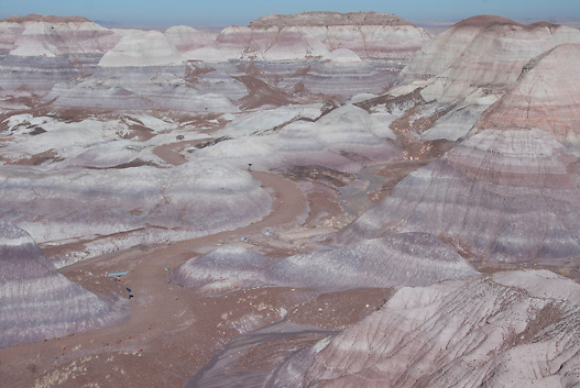 Blue Mesa in the Petrified Forest National Park along I 40 and old Route 66.