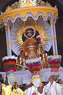 Bolivia. Tarija. Festa di San Roque..The Chunchos bear the saint out of the church, others will porters, however, to support him all the way.