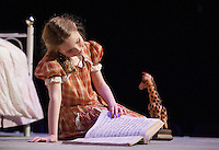 """The Little Girl (Janney Brook Halperin) during Act One - But The Giraffe during dress rehearsal for """"The Brundibar Project"""" at the Winnipesaukee Playhouse Tuesday evening.  (Karen Bobotas/for the Laconia Daily Sun)"""