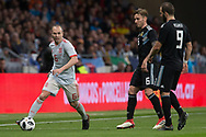 Andres Iniesta of Spain and Lucas Biglia, Gonzalo Higuain of Argentina during the International friendly game football match between Spain and Argentina on march 27, 2018 at Wanda Metropolitano Stadium in Madrid, Spain - Photo Rudy / Spain ProSportsImages / DPPI / ProSportsImages / DPPI