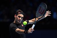 Tennis - 2019 Nitto ATP Finals at The O2 - Day Five<br /> <br /> Singles Group Bjorn Borg: Novak Djokovic (Serbia) vs. Roger Federer (Switzland)<br /> <br /> Roger Federer in action during his 2 set victory over Novak Djokovic 6-4, 6-3<br /> <br /> COLORSPORT/ASHLEY WESTERN