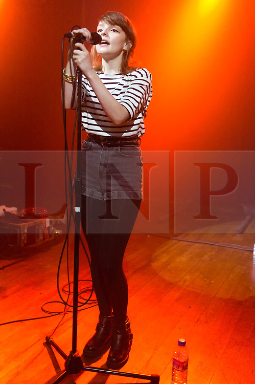 "© Licensed to London News Pictures. 17/02/2014. London, UK.   Chvrches performing live at Scala. Chvrches (pronounced as ""churches"", sometimes stylised as CHVRCHES or CHVRCHΞS) is a British synthpop band, formed in 2011. The group consists of Lauren Mayberry (lead vocals, additional synthesisers and samplers), Iain Cook (synthesisers, guitar, bass, vocals), and Martin Doherty (synthesisers, samplers, vocals).  Chvrches came fifth on the BBC's Sound of 2013 list.  Photo credit : Richard Isaac/LNP"