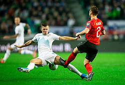 Roman Bezjak of Slovenia vs Andreas Ulmer of Austria during the 2020 UEFA European Championships group G qualifying match between Slovenia and Austria at SRC Stozice on October 13, 2019 in Ljubljana, Slovenia. Photo by Vid Ponikvar / Sportida