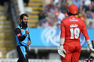 Moeen Ali of Worcestershire Rapids celebrates the wicket of Aaron Lilley during the Vitality T20 Finals Day Semi Final 2018 match between Worcestershire Rapids and Lancashire Lightning at Edgbaston, Birmingham, United Kingdom on 15 September 2018.