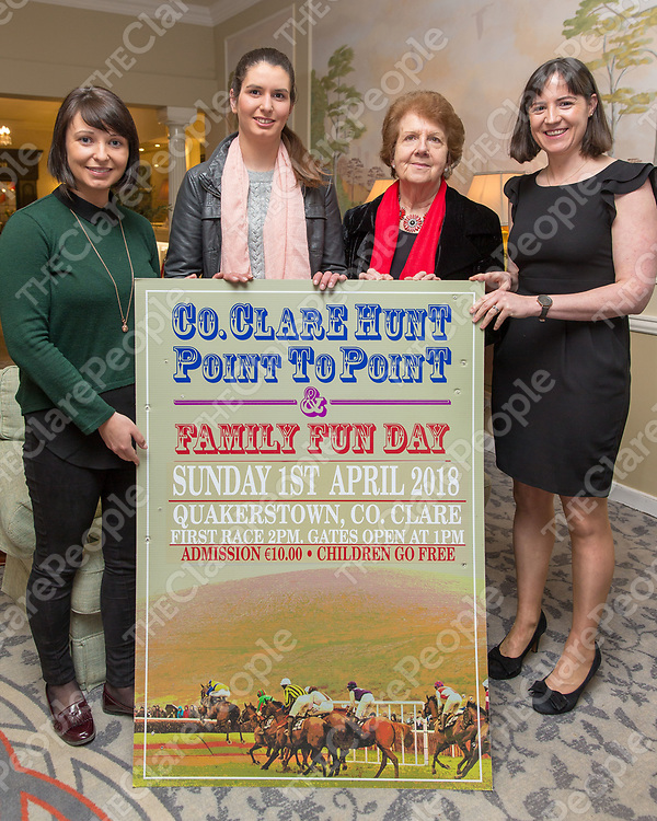 Jane Davies of Connollys Red Mills, Jockey  Shauna Larkin, Frankie Ward and Edwina O'Brien Commitee Member at the Co Clare Quackerstown Point to Point Launch at the Inn at Dromoland on Tuesday evening