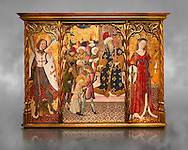 Gothic altarpiece depicting left to right - the Archangel Gabriel, the martyrdom of Santa Eulalia and St Caterina, by Bernat Martorell, circa 1442-1445, Temperal and gold leaf on wood.  National Museum of Catalan Art, Barcelona, Spain, inv no: MNAC  1442. Against a grey textured background. .<br /> <br /> If you prefer you can also buy from our ALAMY PHOTO LIBRARY  Collection visit : https://www.alamy.com/portfolio/paul-williams-funkystock/gothic-art-antiquities.html  Type -     MANAC    - into the LOWER SEARCH WITHIN GALLERY box. Refine search by adding background colour, place, museum etc<br /> <br /> Visit our MEDIEVAL GOTHIC ART PHOTO COLLECTIONS for more   photos  to download or buy as prints https://funkystock.photoshelter.com/gallery-collection/Medieval-Gothic-Art-Antiquities-Historic-Sites-Pictures-Images-of/C0000gZ8POl_DCqE