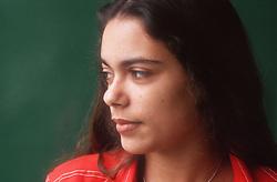 Profile of teenage girl looking serious,