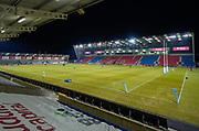 General view of the The AJ Bell Stadium during a Gallagher Premiership Round 9 Rugby Union match, Friday, Feb 12, 2021, in Leicester, United Kingdom. (Steve Flynn/Image of Sport)