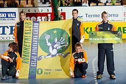 The beginningof of the Supercup 2007 before the handball game RK Celje Pivovarna Lasko  - SC Magdeburg in the semifinal of EHF 2007 Men`s Champions Trophy, on October 20, 2007 in Zlatorog Hall, Celje, Slovenia.   (Photo by Vid Ponikvar / Sportal Images).