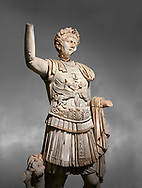 Roman statue of Emperor Trajan . Marble. Perge. 2nd century AD. Inv no . Antalya Archaeology Museum; Turkey.  Against a grey background .<br /> <br /> If you prefer to buy from our ALAMY STOCK LIBRARY page at https://www.alamy.com/portfolio/paul-williams-funkystock/greco-roman-sculptures.html . Type -    Antalya     - into LOWER SEARCH WITHIN GALLERY box - Refine search by adding a subject, place, background colour, museum etc.<br /> <br /> Visit our ROMAN WORLD PHOTO COLLECTIONS for more photos to download or buy as wall art prints https://funkystock.photoshelter.com/gallery-collection/The-Romans-Art-Artefacts-Antiquities-Historic-Sites-Pictures-Images/C0000r2uLJJo9_s0