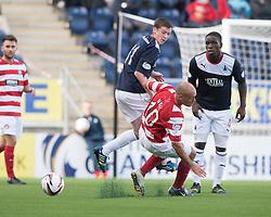 Falkirk's Conor McGrandles and Hamilton's Alex Neil.<br /> Falkirk 1 v 2 Hamilton, Scottish Championship 31/8/2013.<br /> ©Michael Schofield.