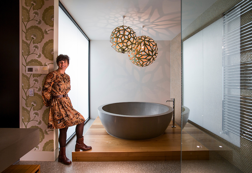 Award winning bathroom designer Jasmine McClelland<br /> and the bathroom she designed for Vicky Tsaganas. Photo By Craig Sillitoe for Home Style. 28/02/2014 This photograph can be used for non commercial uses with attribution. Credit: Craig Sillitoe Photography / http://www.csillitoe.com<br /> <br /> It is protected under the Creative Commons Attribution-NonCommercial-ShareAlike 4.0 International License. To view a copy of this license, visit http://creativecommons.org/licenses/by-nc-sa/4.0/.
