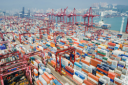 Busy container terminal No.9 in Kwai Chung Hong Kong China