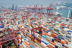 Busy container terminal No.9 in Kwai Chung Hong Kong China