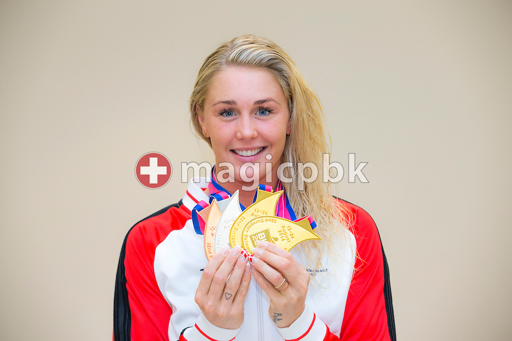 Jeanette OTTESEN of Denmark poses with her two gold medals, her silver medal and her bronze medal after the LEN European Swimming Championships at Europa-Sportpark in Berlin, Germany, Sunday, Aug. 24, 2014. (Photo by Patrick B. Kraemer / MAGICPBK)