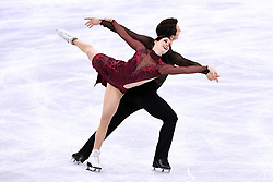 PYEONGCHANG, Feb. 12, 2018  Canada's Tessa Virtue (Front) and Scott Moir compete during the ice dance free dance of figure skating team event at the 2018 PyeongChang Winter Olympic Games, in Gangneung Ice Arena, South Korea, on Feb. 12, 2018. Team Canada won the gold medal of figure skating team event with 73 points in total. (Credit Image: © Ju Huanzong/Xinhua via ZUMA Wire)