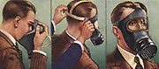 Air Raid Precautions: Set of 50 cards issued by WD & H0 Wills, Britain 1938, in preparation for the anticipated coming of World War II.  The Civilian Respirator (gasmask) which was supplied free to all members of the British public.  How to put on and adjust the respirator.