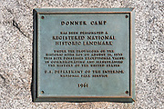 National Historic Landmark plaque, Donner Memorial State Park, Truckee, California USA