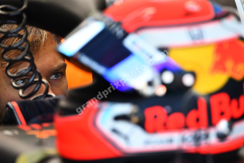 Pierre Gasly (Red Bull-Honda) in the pits with his helmet during practice for the 2019 Canadian Grand Prix in Montreal. Photo: Grand Prix Photo