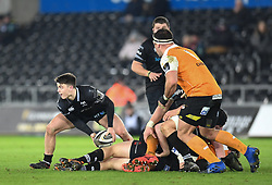 Ospreys' Reuben Morgan-Williams In action today<br /> <br /> Photographer Mike Jones/Replay Images<br /> <br /> Guinness PRO14 Round Round 16 - Ospreys v Cheetahs - Saturday 24th February 2018 - Liberty Stadium - Swansea<br /> <br /> World Copyright © Replay Images . All rights reserved. info@replayimages.co.uk - http://replayimages.co.uk