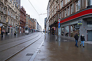 National coronavirus lockdown three begins along Corporation Street in Birmingham city centre, which is deserted apart from a few people on 6th January 2021 in Birmingham, United Kingdom. Following the recent surge in cases including the new variant of Covid-19, this nationwide lockdown, which is an effective Tier Five, came into operation today, with all citizens to follow the message to stay at home, protect the NHS and save lives.