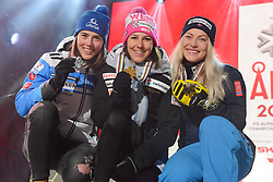 February 8, 2019 - Are, Sweden - PETRA VLHOVA of Slovakia (left, 2nd place) , WENDY HOLDENER of Switzerland (center, winner) and RAGNHILD MOWINCKEL of Norway (right, 3rd place) with their medals from the Ladies Alpine Combined ski race at the FIS Alpine World Ski Championships in Are Sweden. (Credit Image: © Christopher Levy/ZUMA Wire)