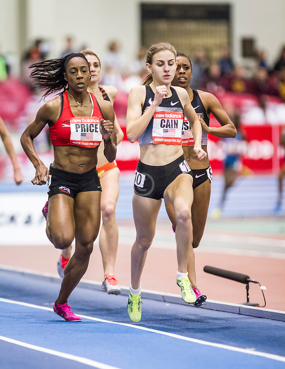New Balance Indoor Grand Prix Track, womens 1000 meters, Mary Cain moves past Treniere Moser