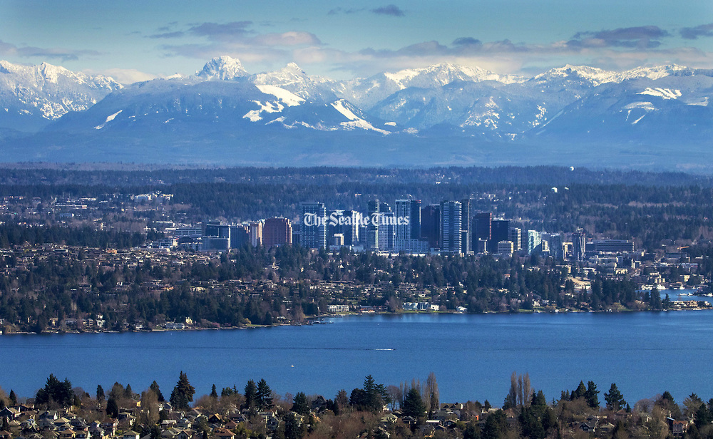 The Bellevue skyline, photographed from the Columbia Tower in Seattle. (Ellen M. Banner/The Seattle Times)