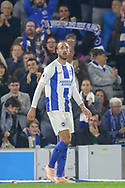Brighton and Hove Albion striker Glenn Murray (17) after his goal during the Premier League match between Brighton and Hove Albion and West Ham United at the American Express Community Stadium, Brighton and Hove, England on 5 October 2018.