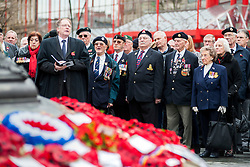 100 years after the outbreak of world War one Veterans, Ex-servicemen Military personnel and members of the public attend the war memorial in Sheffield City centre for the two minute silence and short service as poignant an act of remembrance for those who died in the first world war.<br /> <br /> 11 November 2014<br /> Image © Paul David Drabble <br /> www.pauldaviddrabble.co.uk