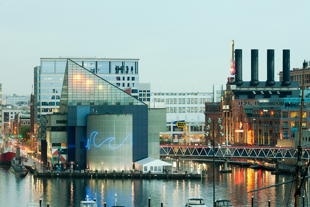 Baltimore, Maryland, United States - National Aquarium and Power Plant at Inner Harbor.