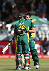 David Miller of South Africa congratulates Rilee Rossouw of South Africa for reaching his century during the 5th ODI match between South Africa and Australia held at Newlands Stadium in Cape Town, South Africa on the 12th October  2016<br /> <br /> Photo by: Shaun Roy/ RealTime Images