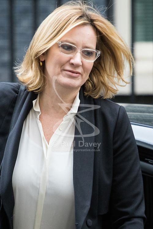 Downing Street, London, March 14th 2017. Home Secretary Amber Rudd arrives at Downing Street, London, for the weekly meeting of the UK cabinet, following yesterday's vote in Parliament to allow Prime Minister Theresa May to go ahead with triggering Article 50 beginning the Brexit process of withdrawing from the European Union.