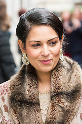 © London News Pictures. 05/03/2016. London, UK. Conservative MP PRITI PATEL  attends a ceremony to mark the wedding of Rupert Murdoch and Jerry Hall held at St Brides Church on Fleet Street,  central London on February 05, 2016. . Photo credit: Ben Cawthra /LNP