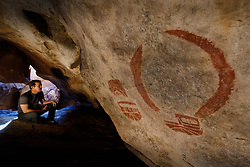 Pictograph at Cave Kiva, Hueco Tanks State Park & Historic Site, El Paso, Texas. USA.