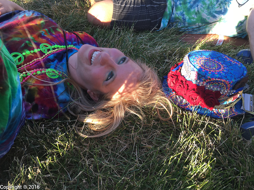 06212016 - Noblesville, Indiana, USA: A neo-Prankster named Spirit Mentalist hangs out on the lawn at Klipsch Music Center (Deer Creek) as members of the Grateful Dead perform as Dead and Company. The Grateful Dead's final show at  Deer Creek in July 1995 was marred by over a thousand fans crashing the gates leading to the next day's show being canceled. Grateful Dead guitarist Jerry Garcia died a few weeks later. (Jeremy Hogan/Polaris)