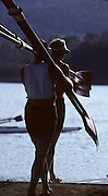 Barcelona, SPAIN. General Views round the boating area, athletes carry oars blades 1992 Olympic Rowing Regatta Lake Banyoles, Catalonia [Mandatory Credit Peter Spurrier/ Intersport Images]
